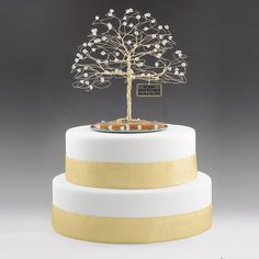 Personalized 50th Anniversary Cake Topper Tree Gift Idea Clear Swarovski Crystal Elements On Gold 7