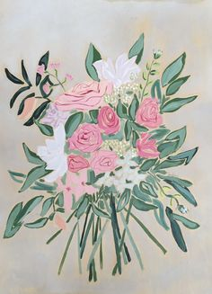 """$760 """"Flowers from Austin"""" An original acrylic painting on birchwood.   www.jamiecorley.com"""