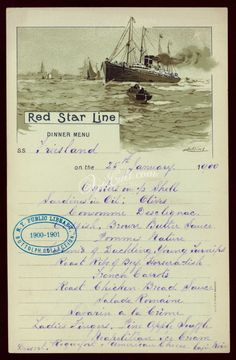 Red Star Line S.Southwark: Menus: Whats on the menu? Antique Books, Antique Art, Handwritten Text, Digital Menu, Etiquette And Manners, Vintage Menu, Commercial Art, Menu Cards, Dinner Menu