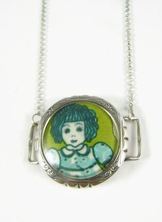 "Blue Doll: Liberty of London Grayson Perry ""Sissy"" print fabric solid silver pendant by ohyouhandsomedevil on Etsy"
