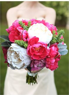 BOUQUET Pink Peonies Garden Roses and Succulents by belfioredesign. $150.00, via Etsy.