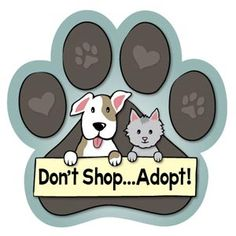 "Animals Ink Large Paw Car Magnet: Don't Shop...Adopt: 5 3/4"" Paw shaped magnet looks great on your car, your refrigerator, just about anywhere! $5.00!"