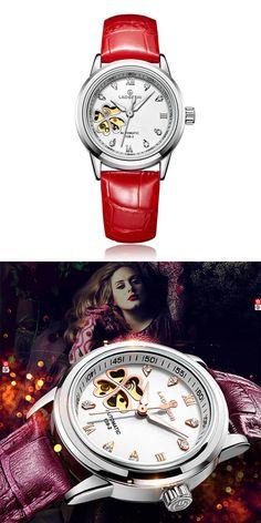 montres femmes Automatic sapphire Watch women Skeleton Mechanical Leather Clock fashion business female waterproof women Watch