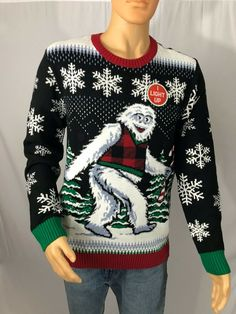 Beautiful Ugly Christmas Sweater - Men's Abominable Snowman Yeti - Bumble! Light Up mens ugly christmas sweater from top store Christmas Humor, Christmas Gifts, Mens Ugly Christmas Sweater, Being Ugly, Light Up, Snowman, Men Sweater, Pullover, Store