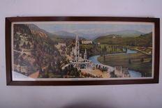 Prent Lourdes - La basilique et le calvaire - 20e eeuw.