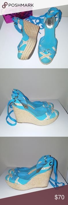 Juicy Couture blue ankle strap wedges Authentic. Very good used condition. Very slight pink stain on back of basket weave wege as seen in fifth photo. Not noticeable when worn. Truly love these, but I have too many shoes. Best reasonable offer takes these babies home. Juicy Couture Shoes Wedges