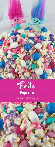 Trolls Popcorn -Trolls love to sing, dance, hug and eat this sweet, salty, delicious popcorn that is chock full of crunchy chocolate candy and colorful sprinkles. This fun popcorn treat would be a fun (Chocolate Color Desserts) Birthday Party Snacks, Trolls Birthday Party, Troll Party, Snacks Für Party, 4th Birthday Parties, 2nd Birthday, Birthday Crafts, Party Desserts, Party Party