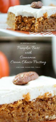 Pumpkin Bars with Cinnamon Cream Cheese Frosting (Low Carb, Sugar Free, THM-S)
