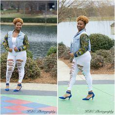 Custom African Print Denim Jacket Custom African Print Denim Jacket...created by yours truly. Follow me on fb...ThriftyDivaAltafia... Jackets & Coats Jean Jackets