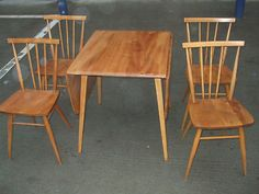 Vintage Ercol retro dining table & set 4 chairs, blonde elm, 1950s/60s period | eBay