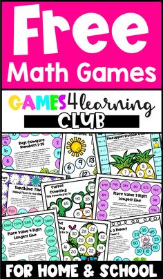 These math games are ready for you to print and go! Join the Free Games 4 Learning Club and receive 50 Free math games and then regular freebies! These printable math games cover different areas of math including addition, subtraction, multiplication, division, place value, rounding numbers, fractions, telling time, seasonal math games and more! Includes games for kindergarten, first, second, third, fourth and fifth grades. Use them in math centers, for home learning or for homeschool. Printable Math Games, Free Math Games, Multiplication, Fractions, Rounding Numbers, Kindergarten Games, Game 4, Home Learning, Telling Time