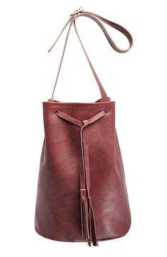 Jesslyn Blake Leather Bucket Bag in Wine | DAILYLOOK