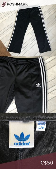 """Adidas track pants The """"Superstar"""" woman's track pants by Adidas. Black and white stripes, 2 pockets in front, 2 zippers at the bottom! In excellent condition!💖 Size L adidas Pants Track Pants & Joggers Adidas Pants, Plus Fashion, Fashion Tips, Fashion Trends, Black Adidas, Zippers, Adidas Women, Superstar, Pant Jumpsuit"""