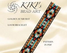 Bead loom pattern  Flower with gold LOOM bracelet pattern in