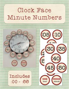 Clock Face Minute Numbers to help students practice telling time! $1 All About Me Activities, Fun Math Activities, Math Games For Kids, Math Resources, Fifth Grade Math, Sixth Grade, Fourth Grade, Second Grade, Elementary Math