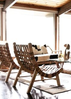leather strap chairs Wood Chairs, Deck Chairs, Outdoor Chairs, Bar Chairs, Awesome Chairs, Leather Chairs, Woven Chair, Chair Cushions, Sofa Chair