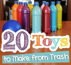 """20 Toys To Make From Trash - I don't know if we need anymore junk or """"trash"""" around this house but it sure would be fun to make them with my kiddo to give to them to the other family kiddos!  Then we can just send the trash on over there!  LOL"""