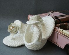 Shabby Chic Crochet Cotton Baby Sandals, Crochet Gladiators for Baby Girl,Ivory , size 0-3 months,Newborn, Photo Prop, ready to ship via Etsy