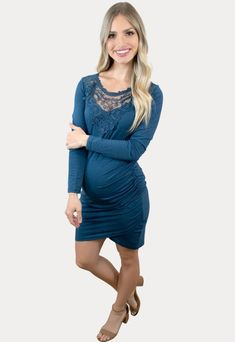 Pregnancy Dress with Lace - Sexy Mama Maternity This stylish pregnancy dress with lace is both elegant and ultra flattering! Perfect for all your mama curves. With a ruched side, lace detail around the neckline and a bodycon fit this dress is sure to impress! It is constructed of a premium stretch material for ultimate comfort. Perfect to wear throughout all nine months of pregnancy and beyond!