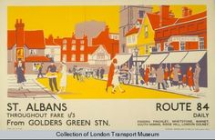 St Albans, by Dorothy Paton, 1926    Published by Underground Electric Railway Company Ltd, 1926  Printed by Vincent Brooks, Day & Son Ltd, 1926  Format: Panel poster  Dimensions: Width: 458mm, Height: 293mm  Reference number: 1983/4/8561