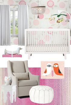 Pink and Gray Nursery Design Board from @skiphopnyc's Jessica Podoshen - Project Nursery