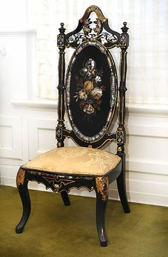 """""""A Victorian mother- of- pearl black lacquer and paper-mache nursing chair in the style"""