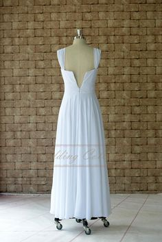 blanche robes Cap manches cheville longueur, robe de mariée Simple ...