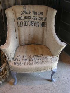 Burlap chair!  Here is an idea for refinishing your chair,  NOT
