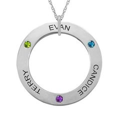 This Engravable Circle of Love Mother-Family Gemstone Pendant can be personalized with up to 5 stunning round gemstones. Sku: ME-F338 $223.99