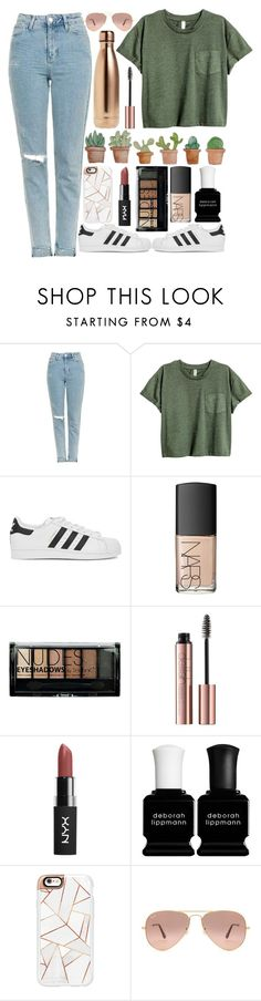 """Hints of copper"" by jyellow-11 ❤ liked on Polyvore featuring Topshop, adidas Originals, NARS Cosmetics, Boohoo, Deborah Lippmann, Casetify, Ray-Ban and S'well"