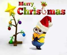 bee do bee do merry christmas minion with tree - Minion Merry Christmas