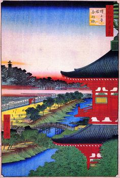 Hiroshige - One Hundred Famous Views of Edo - 49. The Pagoda at Zojo Temple at Akabanel
