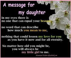 Message for my daughter