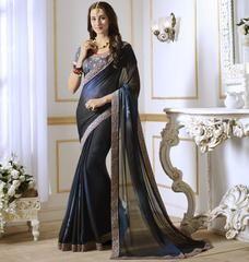 Blue Color Georgette Designer Festive & Party Wear Sarees : Anudnya Collection  YF-63117