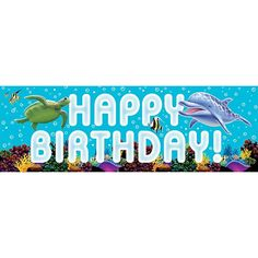 """Get ready for deep sea fun! The Ocean Party Giant Banner will make a huge party splash! This fun decoration features an undersea background, complete with coral reef, and the words """"Happy Birthday"""" fl"""