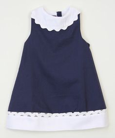 Another great find on #zulily! Navy Blue & White Collared Dress - Infant, Toddler & Girls #zulilyfinds
