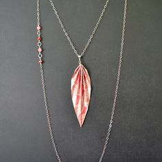 Red pettern paper origami leaf pendant necklace on by MunPaperi