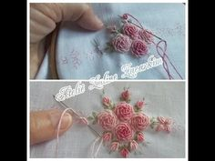 This Pin was discovered by 김은화 Embroidery Needles, Silk Ribbon Embroidery, Crewel Embroidery, Hand Embroidery Patterns, Cross Stitch Embroidery, Brazilian Embroidery, Ribbon Art, Embroidery Techniques, Flower Patterns