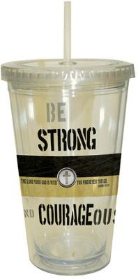 Strong and Courageous Insulated Tumbler with Straw