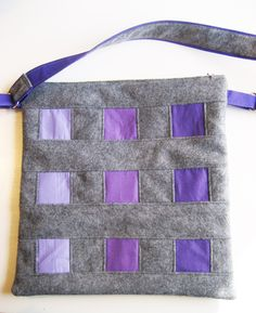 Large Modern handbag, Grey and Purple Purse, Gray Shoulder Bag, Zipper top, Front pocket, bookbag, cross bodybag, ombre purple, by DutchDaisyDesign on Etsy