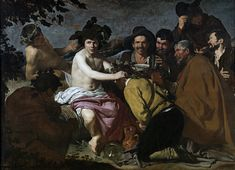 The Triumph of Bacchus (Greek title is Ο Θρίαμβος του Βάκχου) is a 1628 painting by Diego Velázquez, now in the Museo del Prado, in Madrid. The painting shows Bacchus surrounded by drunks. It is popularly known as Los borrachos or The Drunks. Caravaggio, Spanish Painters, Spanish Artists, Art Du Temps, Homo Faber, Diego Velazquez, Ancient Greek Religion, Baroque Art, Bacchus