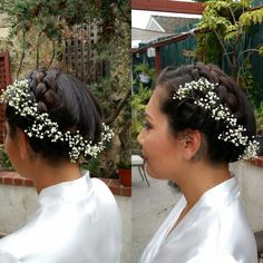 Milkmaid braids with gorgeous floral accents.