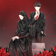 Image may contain: one or more people Love Cartoon Couple, Cute Couple Art, Cute Love Cartoons, Cute Muslim Couples, Muslim Girls, Cute Anime Couples, Muslim Couple Photography, Anime Angel Girl, Islamic Cartoon