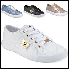GUESS Backer Sneakers in 6 Colors! GUESS Baker Trainers shine with a chic quilted pattern and metallic hardware accents. All White Sneakers, Slip On Sneakers, Fall Fashion Trends, Autumn Fashion, Spring Trends, Guess Shoes, Me Too Shoes, Vintage Street Fashion, Michael Kors Sneakers