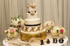 Metallic Gold Flower and Fondant Wedding Cake Accents