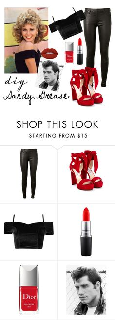"""""""DIY Grease Costume"""" by shootingstar710 ❤ liked on Polyvore featuring AG Adriano Goldschmied, Jimmy Choo, MAC Cosmetics, Christian Dior, Lime Crime, halloweencostume and DIYHalloween"""