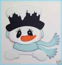 CHRISTMAS PEEKER SNOWMAN FOR MAT TOPPER PAPER PIECING  BY MY TEAR BEARS KIRA