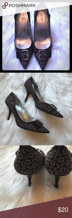 """Guess heels Guess heels. Wine colored with grey G design. Silver buckle on top of pointed toes. Minimal wear on the inside of the shoe but still in very good condition. One small scrape on the back of the left heel but otherwise no damage to outside or bottom of shoes. These are in great condition! 3.5"""" heel Guess Shoes Heels"""