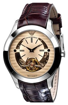 Emporio Armani 'Meccanico' Automatic Round Watch available at #Nordstrom