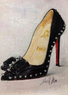 Shoe Lover Christian Louboutin Lucifer Original Oil Painting by Nina R.Aide Fashion Art 7x5  Sale
